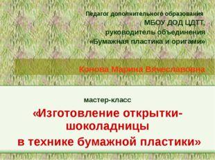 Педагог дополнительного образования МБОУ ДОД ЦДТТ, руководитель объединения «