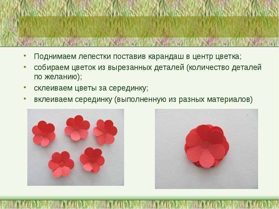Поднимаем лепестки поставив карандаш в центр цветка; собираем цветок из вырез...