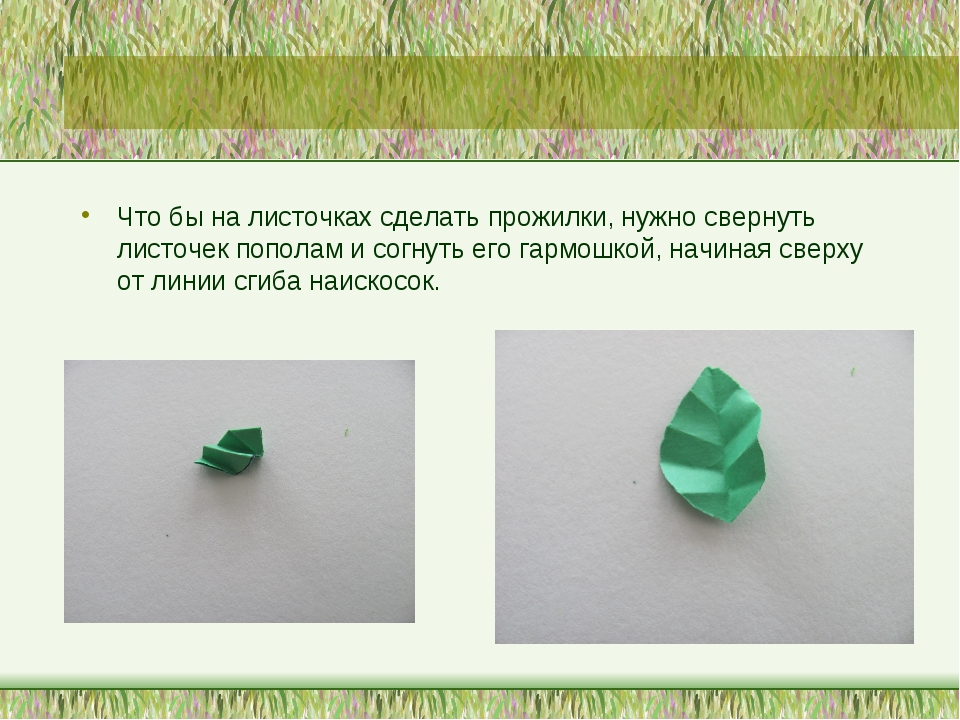 Что бы на листочках сделать прожилки, нужно свернуть листочек пополам и согну...