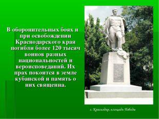 В оборонительных боях и при освобождении Краснодарского края погибли более 1