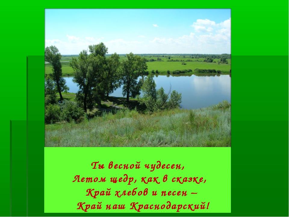 Ты весной чудесен, Летом щедр, как в сказке, Край хлебов и песен – Кра...