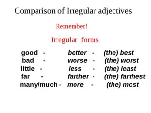 the best good better Compare these pictures using these adjectives:
