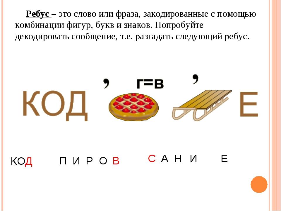 Ребус – это слово или фраза, закодированные с помощью комбинации фигур, букв...