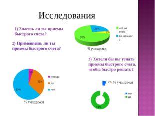 Исследования 1) Знаешь ли ты приемы быстрого счета? 2) Применяешь ли ты прие