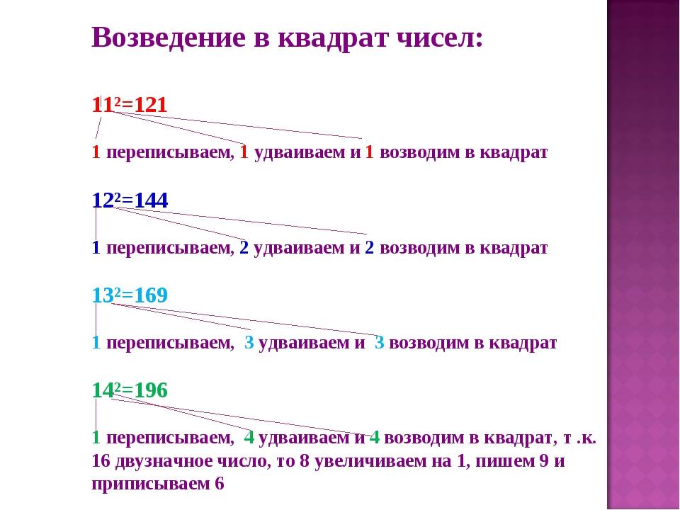 Возведение в квадрат чисел: 11²=121 1 переписываем, 1 удваиваем и 1 возводим...