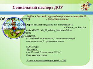 Социальный паспорт ДОУ МДОУ « Детский сад комбинированного вида № 28 « Золото