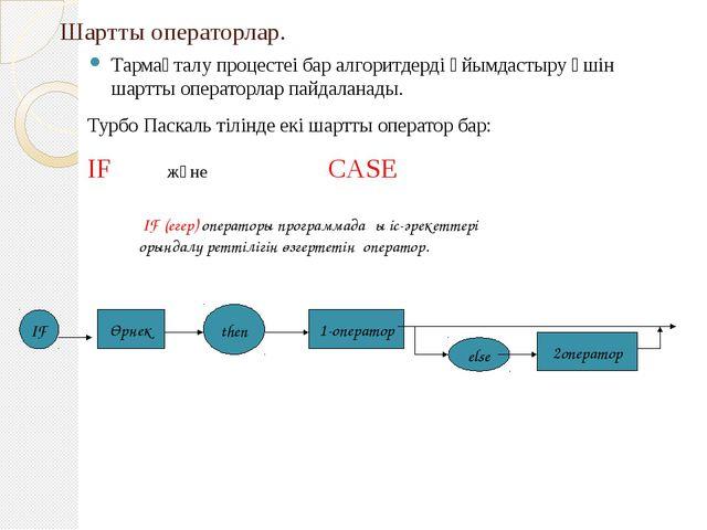 Шартты операторлар. Тармақталу процестеі бар алгоритдерді ұйымдастыру үшін ша...