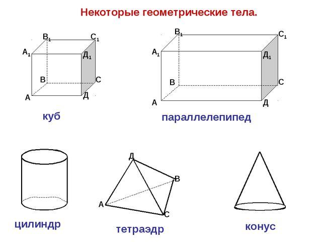 Некоторые геометрические тела. А В С Д Д1 С1 В1 А1 куб А В С Д А1 В1 С1 Д1 па...