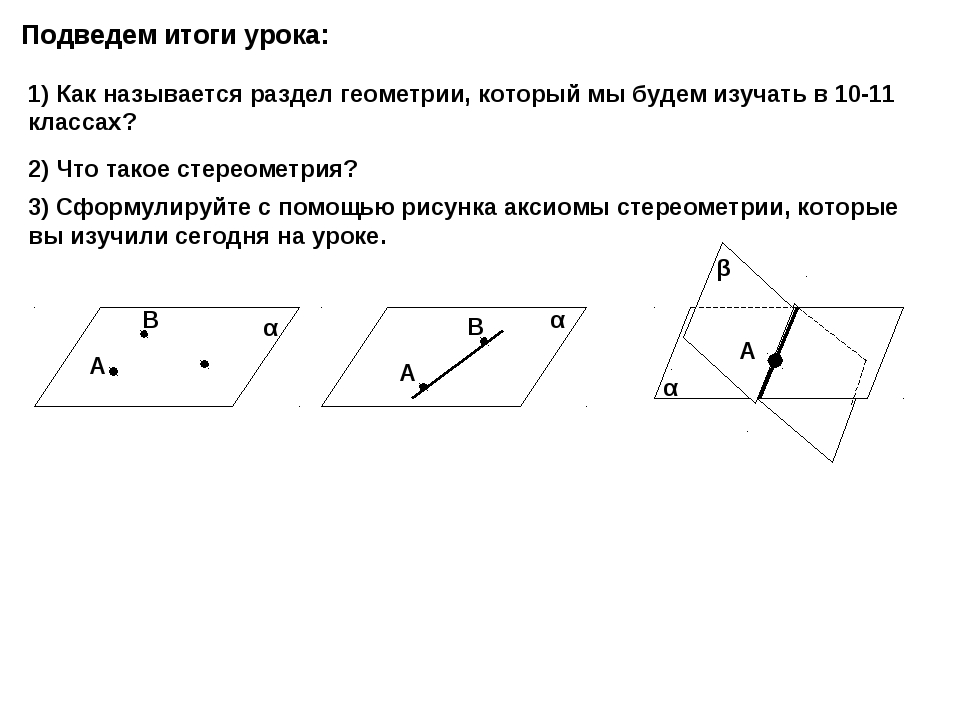 Подведем итоги урока: 1) Как называется раздел геометрии, который мы будем из...