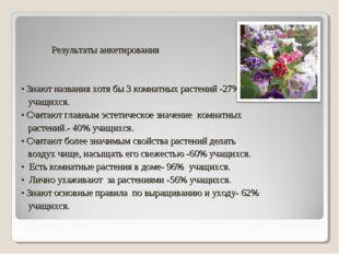 Результаты анкетирования • Знают названия хотя бы 3 комнатных растений -27%