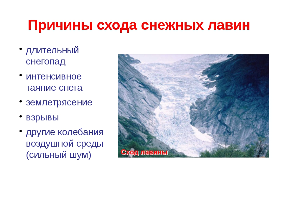Причины схода снежных лавин длительный снегопад интенсивное таяние снега земл...