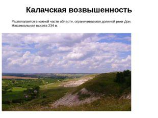 Калачская возвышенность Располагается в южной части области, ограничиваемая д