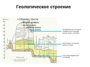 Геологическое строение Аллювиальные отложения Четвертичного периода (пески, г
