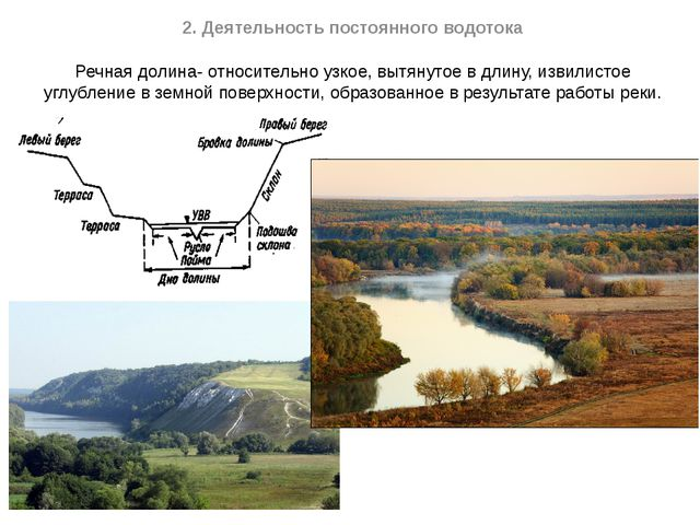2. Деятельность постоянного водотока Речная долина- относительно узкое, вытян...