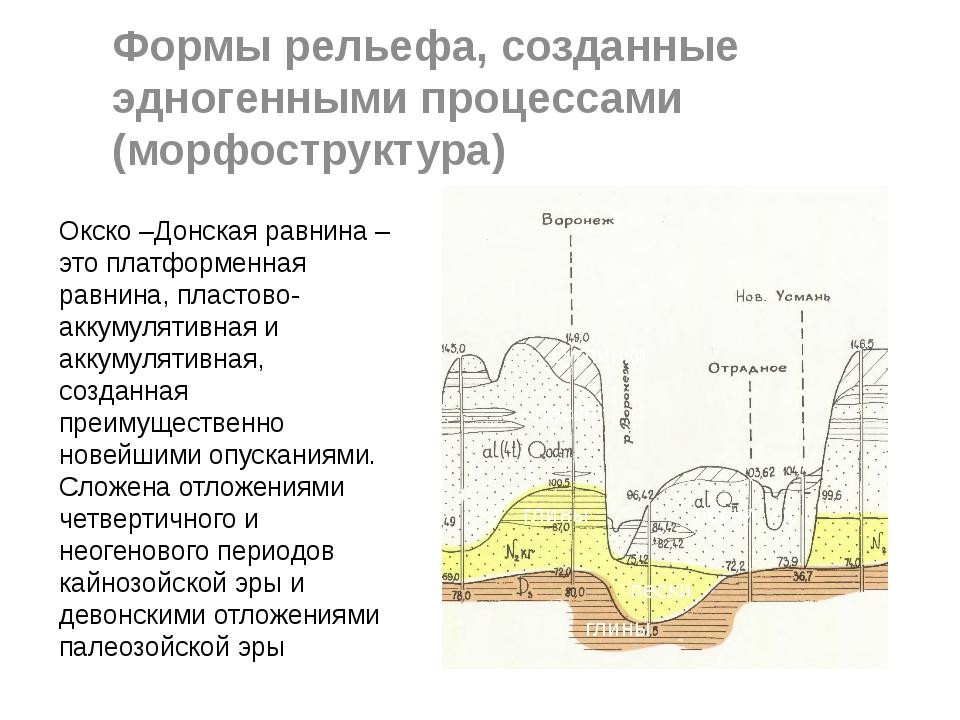 Формы рельефа, созданные эдногенными процессами (морфоструктура) суглинки пес...