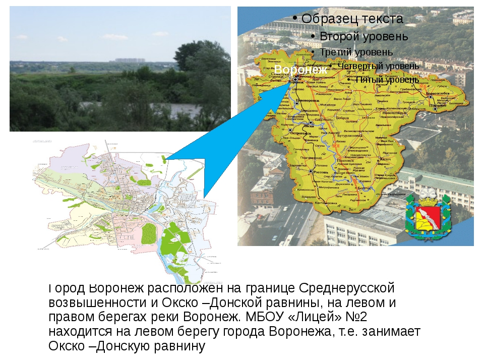 Город Воронеж расположен на границе Cреднерусской возвышенности и Окско –Донс...