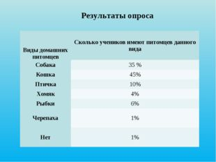 Результаты опроса Виды домашних питомцевСколько учеников имеют питомцев дан