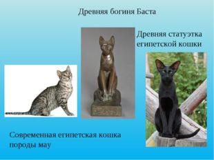 Рис. 5 Древняя богиня Баста. Статуэтка древней египетской кошки. Современная