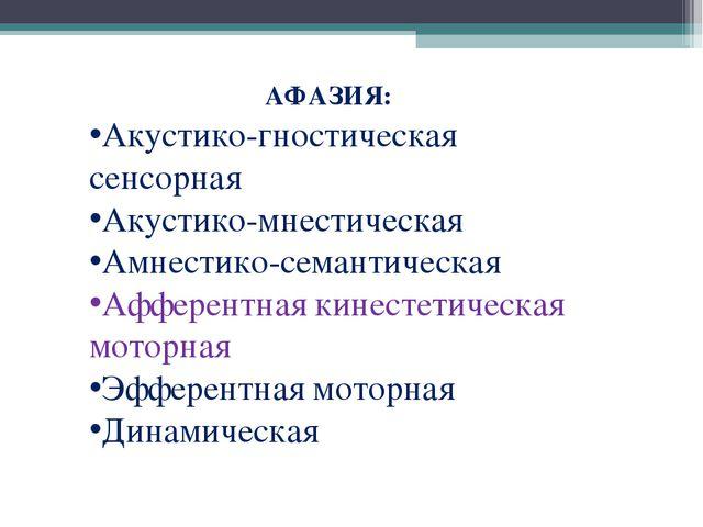 АФАЗИЯ: Акустико-гностическая сенсорная Акустико-мнестическая Амнестико-сема...
