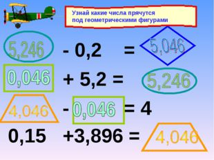 - 0,2 = + 5,2 = - = 4 0,15 +3,896 = Узнай какие числа прячутся под геометрич
