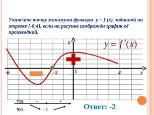 Укажите точку минимума функции y = f (x), заданной на отрезке [-6;4], если на