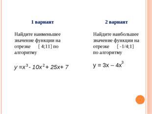 1 вариант Найдите наименьшее значение функции на отрезке [ 4;11] по алгоритму