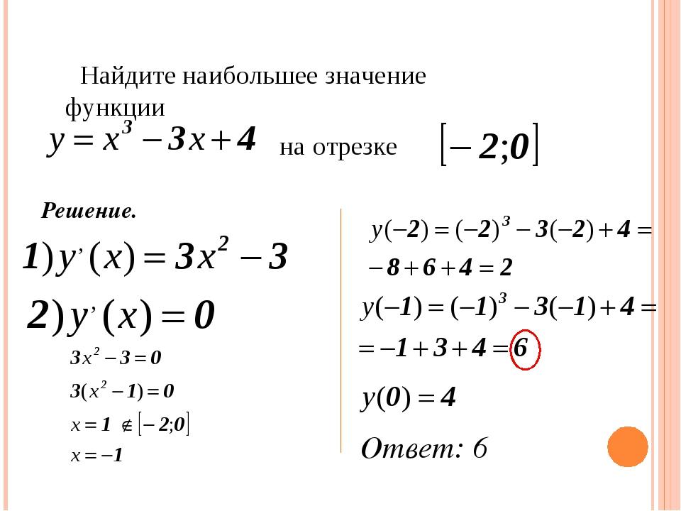 Решение. Найдите наибольшее значение функции на отрезке Ответ: 6