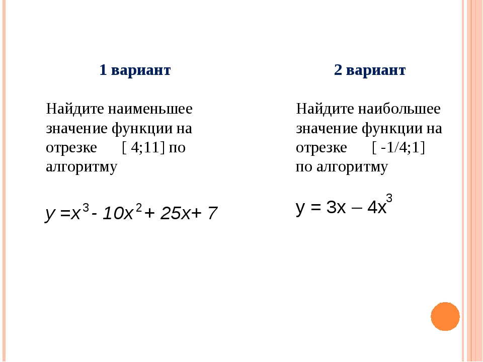 1 вариант Найдите наименьшее значение функции на отрезке [ 4;11] по алгоритму...