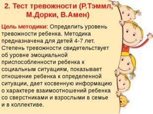 2. Тест тревожности (Р.Тэммл, М.Дорки, В.Амен) Цель методики: Определить уров