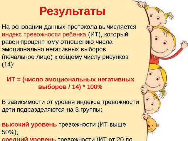 Результаты На основании данных протокола вычисляется индекс тревожности ребен...