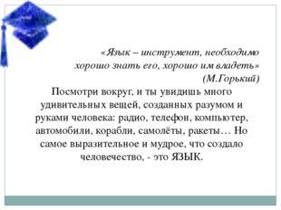 «Язык – инструмент, необходимо хорошо знать его, хорошо им владеть» (М.Горьки