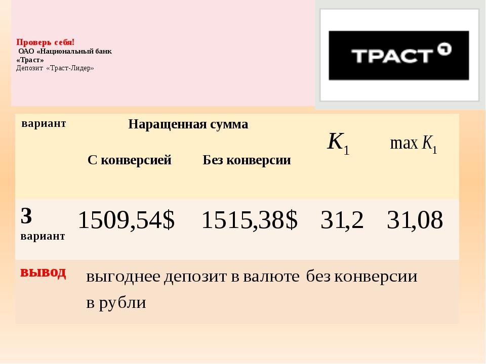 Проверь себя! ОАО «Национальный банк «Траст» Депозит «Траст-Лидер» вариант Н...