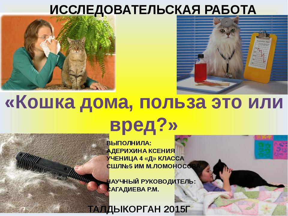 «Кошка дома, польза это или вред?» ИССЛЕДОВАТЕЛЬСКАЯ РАБОТА ТАЛДЫКОРГАН 2015Г...