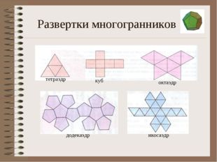 Развертки многогранников тетраэдр куб октаэдр додекаэдр икосаэдр