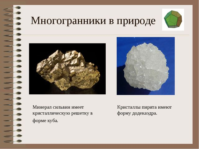 Многогранники в природе Минерал сильвин имеет кристаллическую решетку в форме...