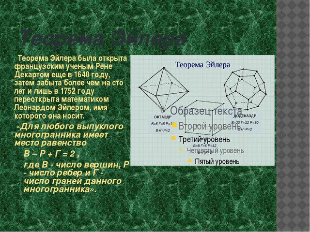 Теорема Эйлера Теорема Эйлера была открыта французским ученым Рене Декартом е...