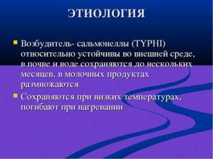 ЭТИОЛОГИЯ Возбудитель- сальмонеллы (TYPHI) относительно устойчивы во внешней