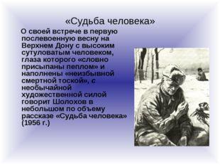 «Судьба человека» О своей встрече в первую послевоенную весну на Верхнем Дону