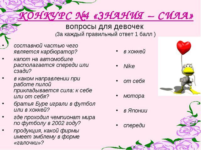 КОНКУРС №4 «ЗНАНИЯ – СИЛА» вопросы для девочек (За каждый правильный ответ 1...
