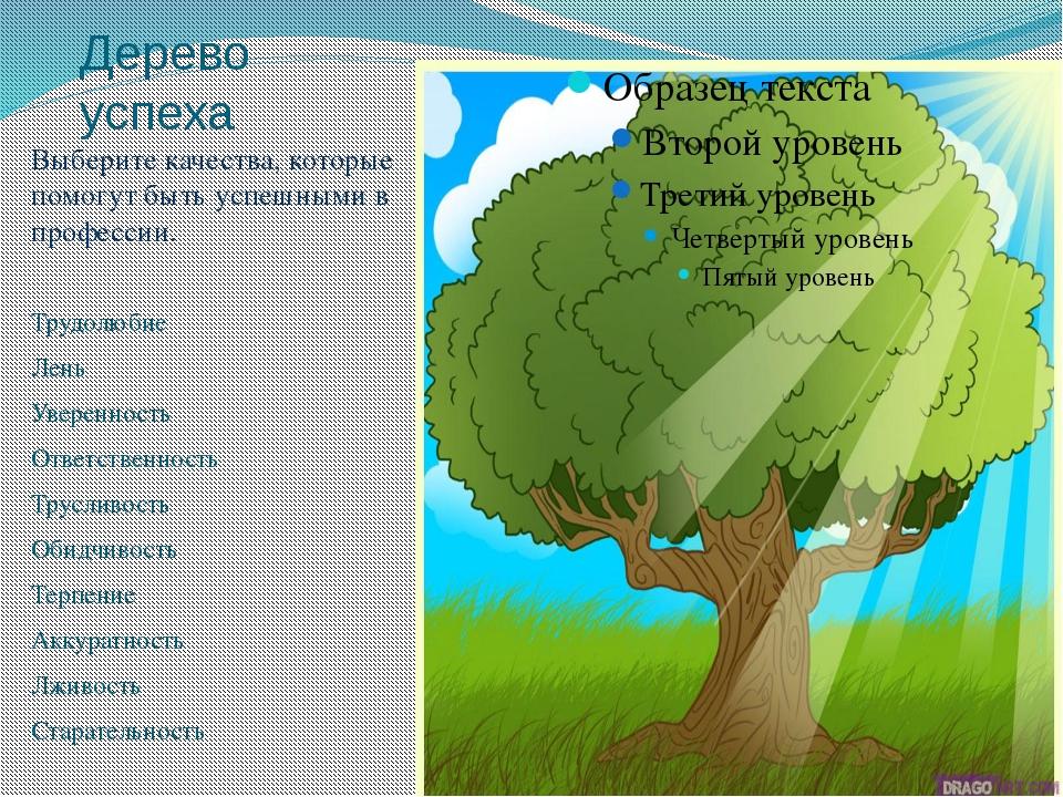Дерево успеха Выберите качества, которые помогут быть успешными в профессии....