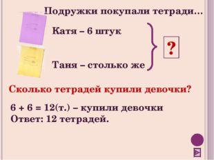 Подружки покупали тетради… Катя – 6 штук Таня – столько же ? Сколько тетрадей