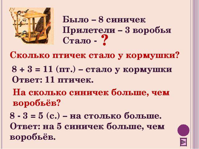 Было – 8 синичек Прилетели – 3 воробья Стало - 8 + 3 = 11 (пт.) – стало у кор...