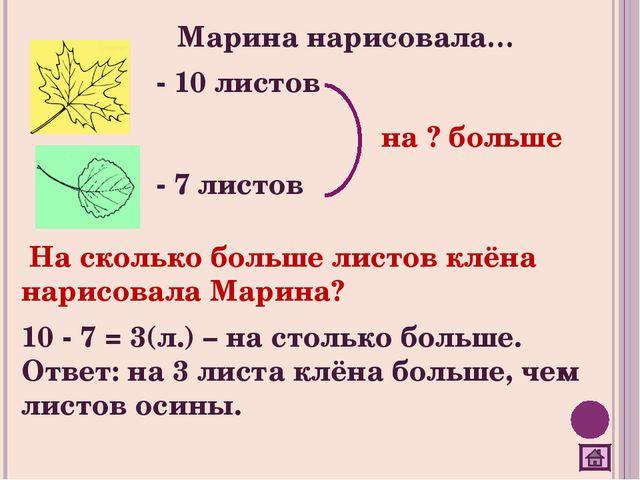 Марина нарисовала… - 10 листов - 7 листов На сколько больше листов клёна нари...