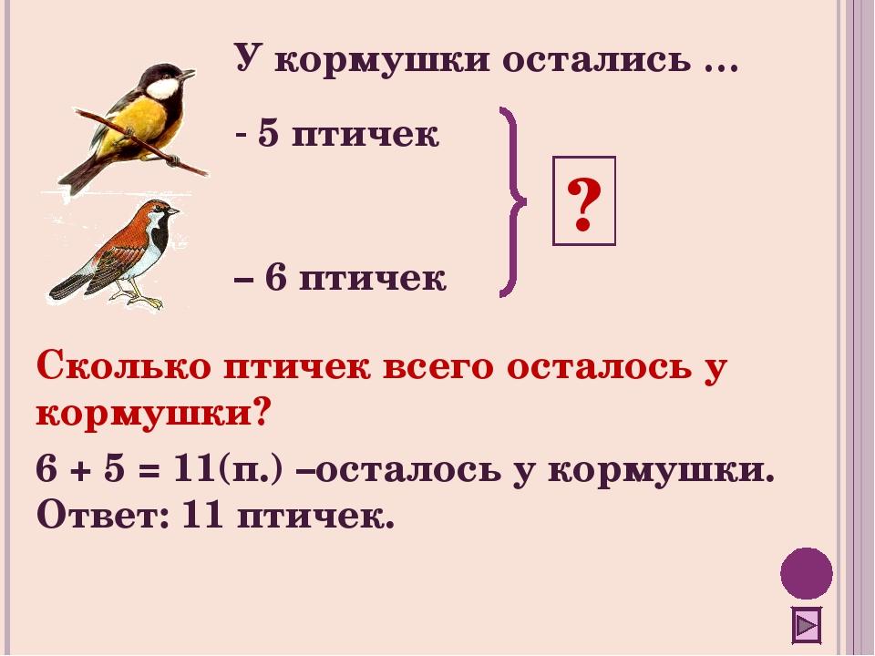 5 птичек – 6 птичек ? Сколько птичек всего осталось у кормушки? 6 + 5 = 11(п...