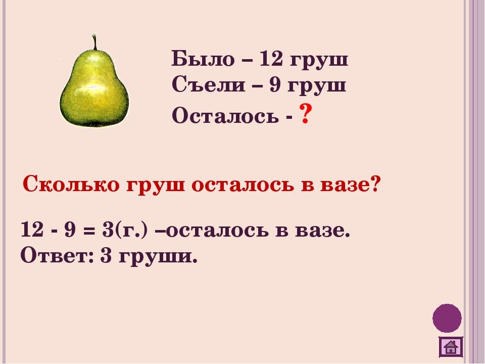 Было – 12 груш Съели – 9 груш Осталось - ? Сколько груш осталось в вазе? 12 -...