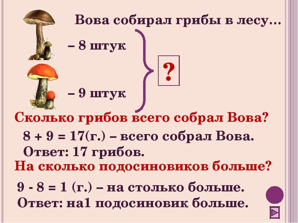 Вова собирал грибы в лесу… – 8 штук – 9 штук ? Сколько грибов всего собрал Во...