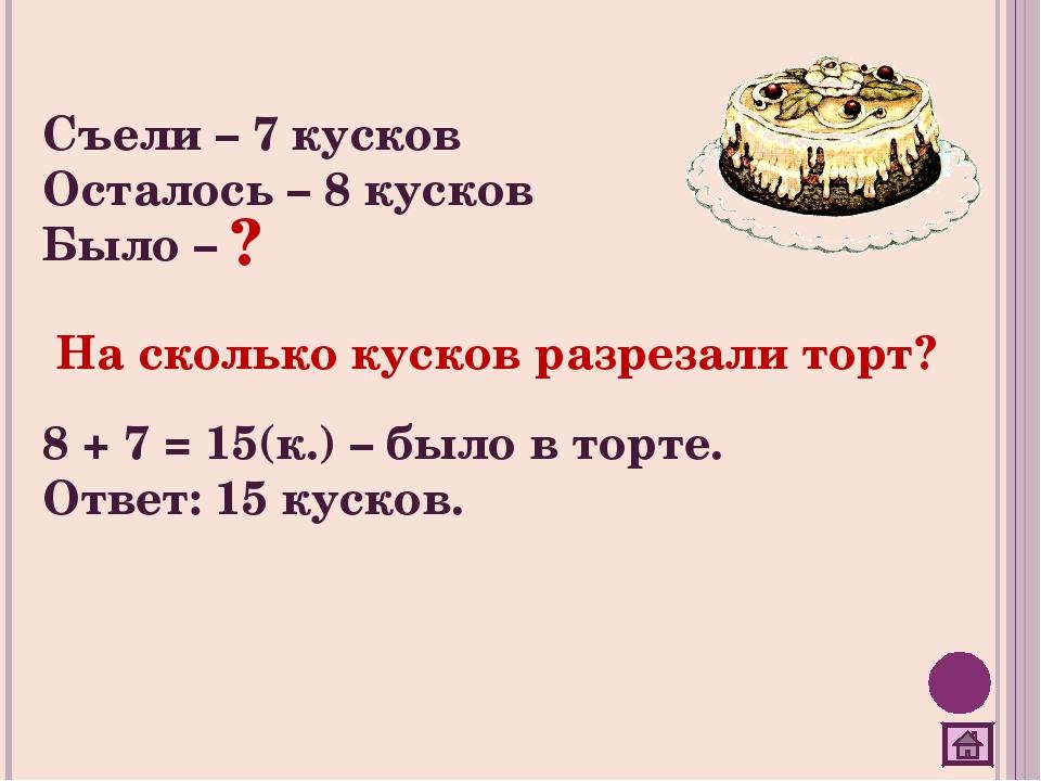Съели – 7 кусков Осталось – 8 кусков Было – На сколько кусков разрезали торт?...