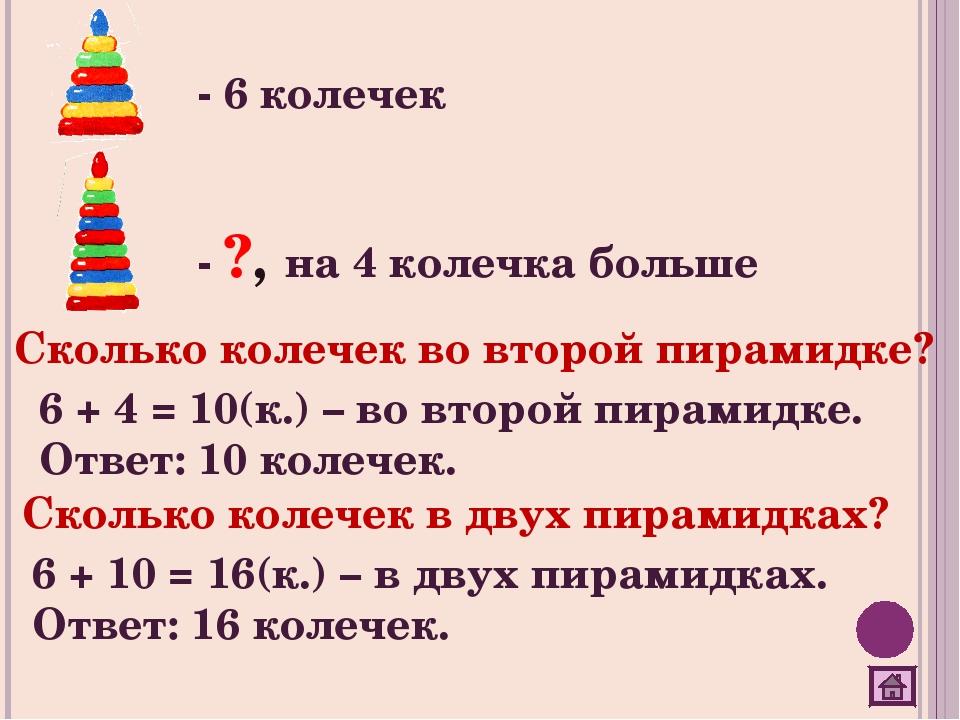 - 6 колечек - ?, на 4 колечка больше Сколько колечек во второй пирамидке? 6 +...