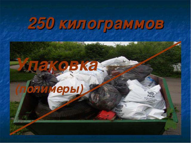 250 килограммов Упаковка (полимеры)