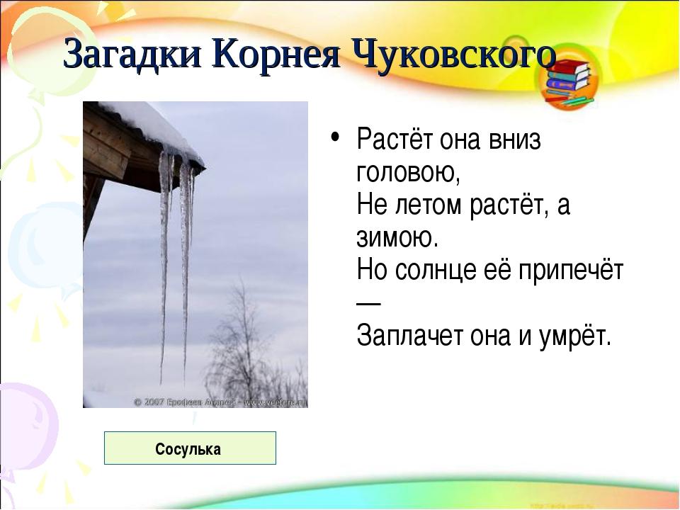 Загадки Корнея Чуковского Растёт она вниз головою, Не летом растёт, а зимою....